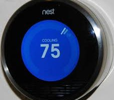 A smart thermostat set to cooling